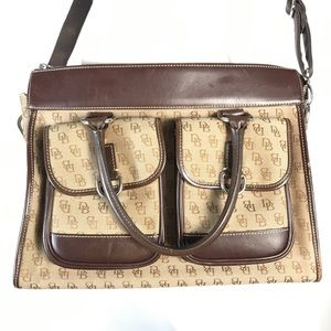 DOONEY AND BOURKE LEATHER AND CANVAS CROSSBODY